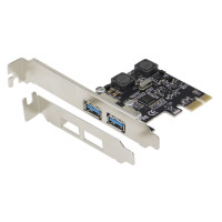 SEDNA - PCI Express USB 3.1 Gen I ( 5Gbps ) 2 Port Adapter with Low Profile Bracket - with 2 separated power supply and protection circuit