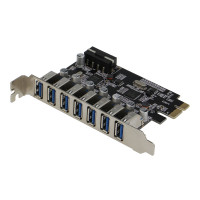 SEDNA - PCIE 7 Port USB 3.0 Adapter Card ( 7 External Ports ) with Molex Power Connector , ( NEC Host controller )