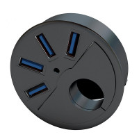 "SEDNA - 2.5"" Grommet Hole - 2.5"" In Desk - USB 3.0 4 Port Hub/ BC 1.2 USB Charger for Ipad / Tablet and iPhone / Smart phones"