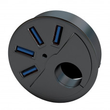 """SEDNA - 2.5"""" Grommet Hole - 2.5"""" In Desk - USB 3.0 4 Port Hub/ BC 1.2 USB Charger for Ipad / Tablet and iPhone / Smart phones"""