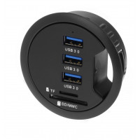 "SEDNA - 2.5"" Grommet Hole - In Desk - USB 3.0 3 Port Hub/ BC 1.2 USB Charger with SD Card Reader"