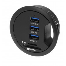"""SEDNA - 2.5"""" Grommet Hole - In Desk - USB 3.0 3 Port Hub/ BC 1.2 USB Charger with SD Card Reader"""